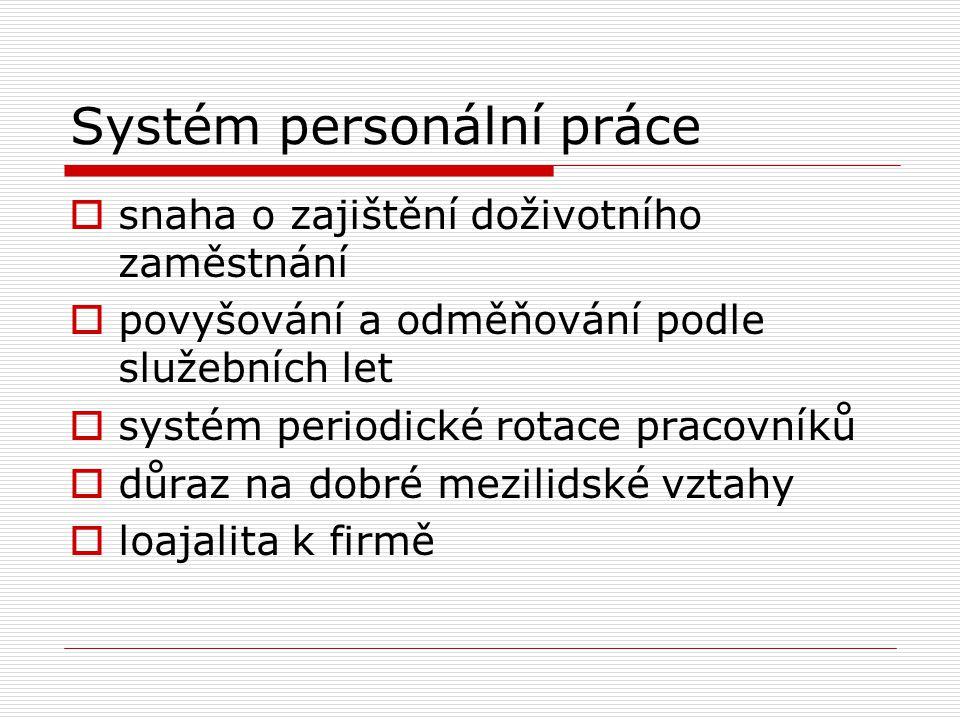 Systém personální práce  snaha o zajištění doživotního zaměstnání  povyšování a odměňování podle služebních let  systém periodické rotace pracovníků  důraz na dobré mezilidské vztahy  loajalita k firmě