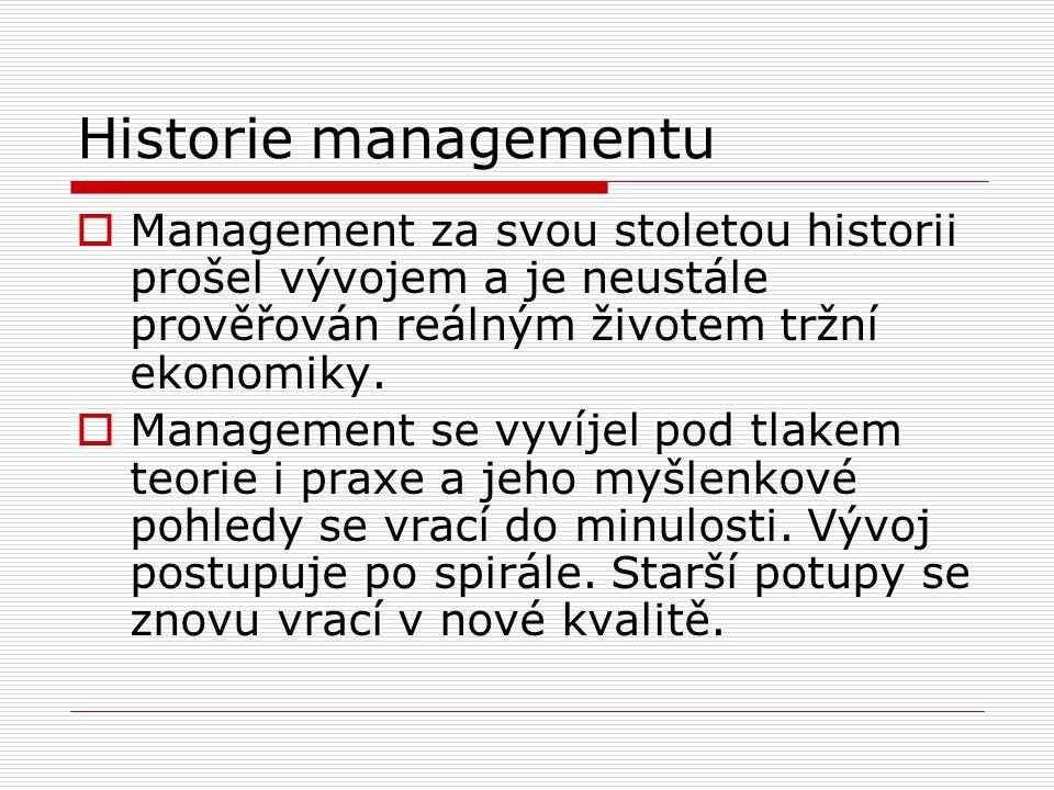 Historie managementu  Management za svou stoletou historii prošel vývojem a je neustále prověřován reálným životem tržní ekonomiky.  Management se v