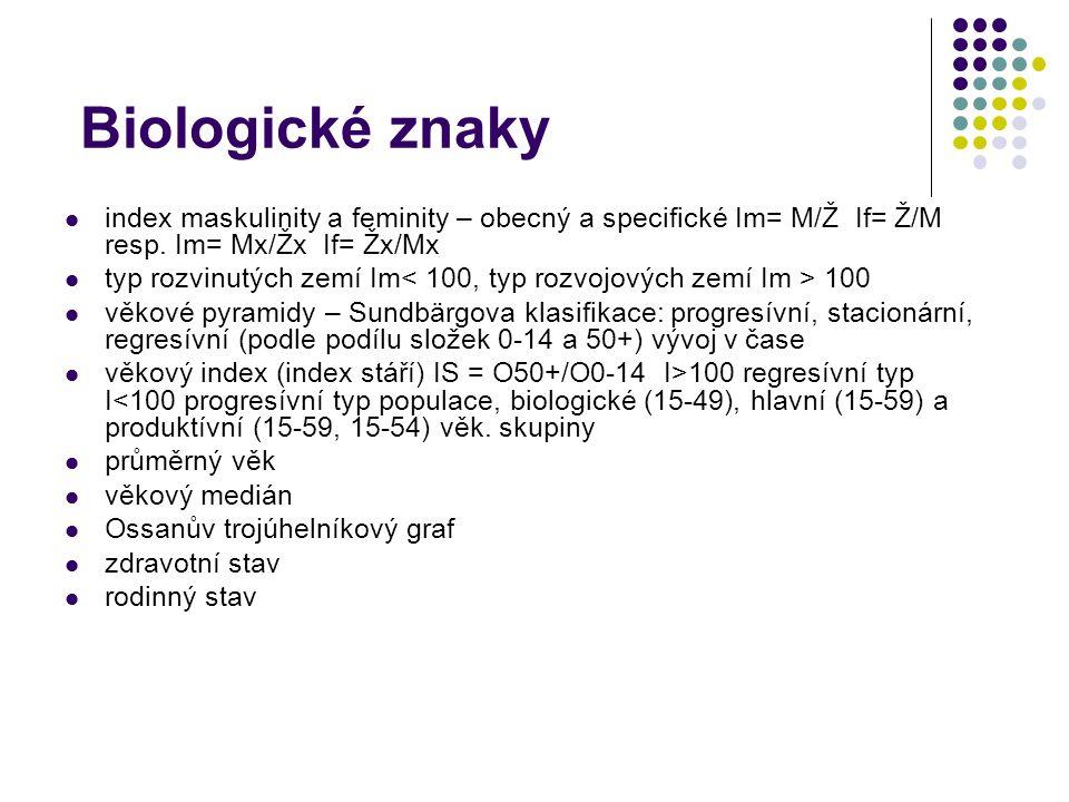 Biologické znaky index maskulinity a feminity – obecný a specifické Im= M/Ž If= Ž/M resp.