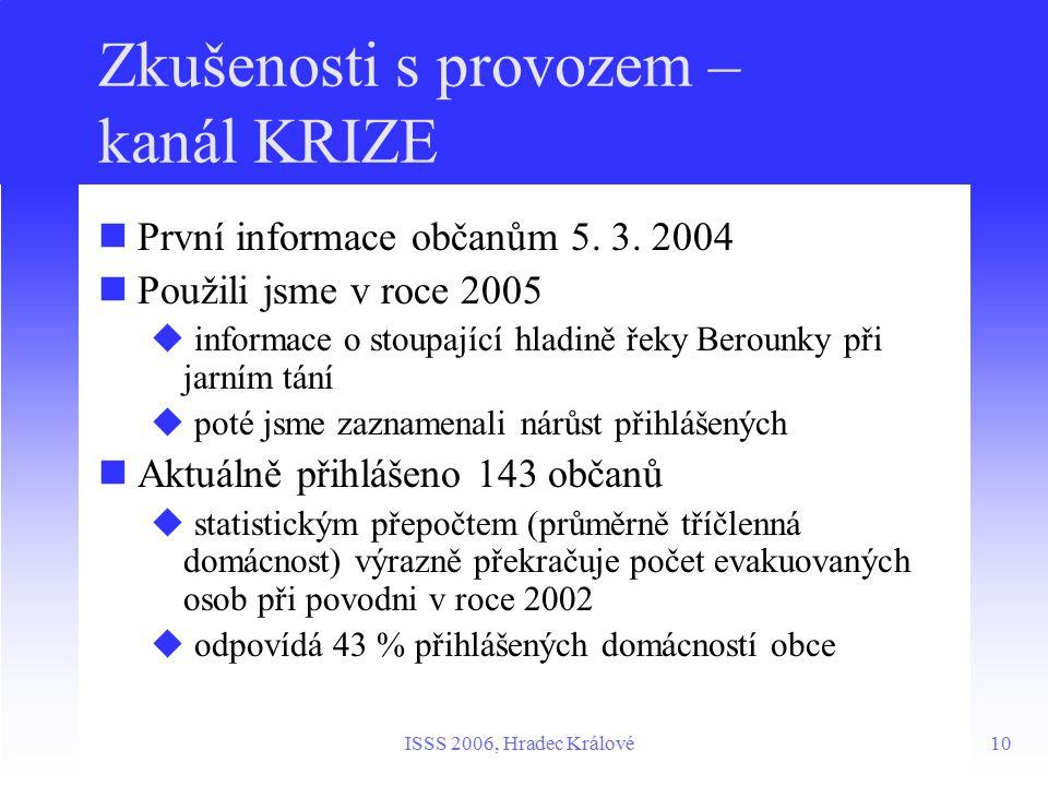 10ISSS 2006, Hradec Králové Zkušenosti s provozem – kanál KRIZE První informace občanům 5.
