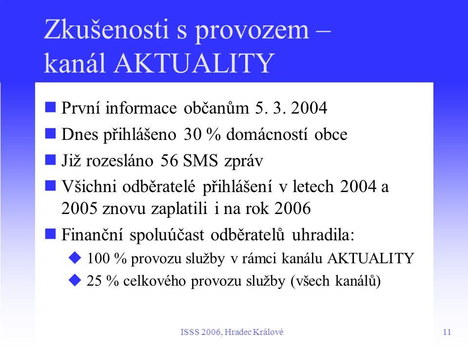 11ISSS 2006, Hradec Králové Zkušenosti s provozem – kanál AKTUALITY První informace občanům 5.