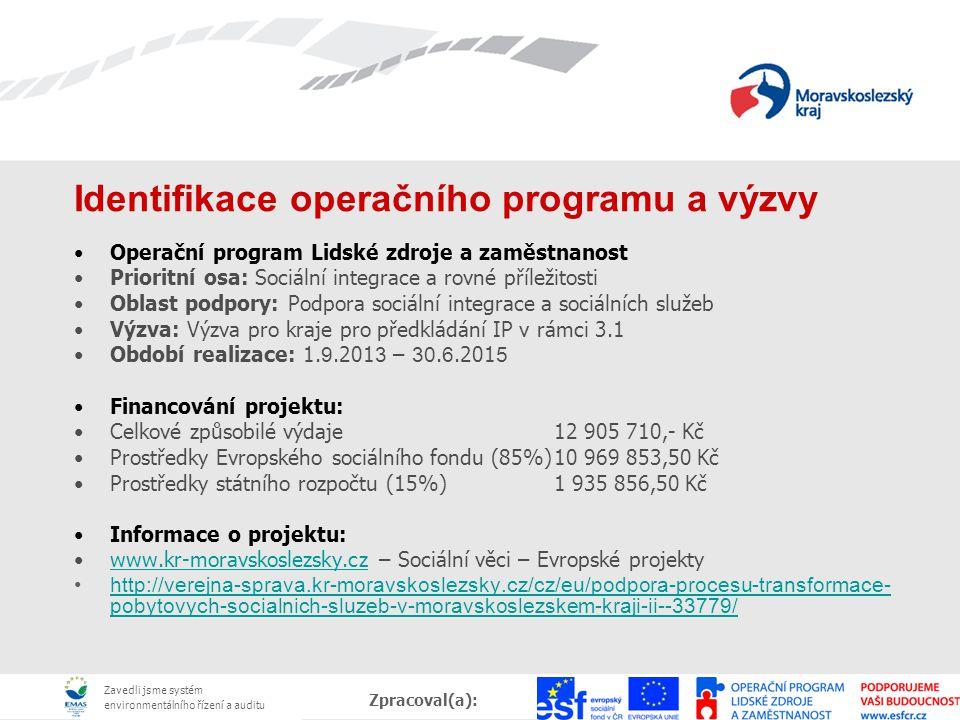 Zavedli jsme systém environmentálního řízení a auditu Zpracoval(a):, Datum: Identifikace operačního programu a výzvy Operační program Lidské zdroje a
