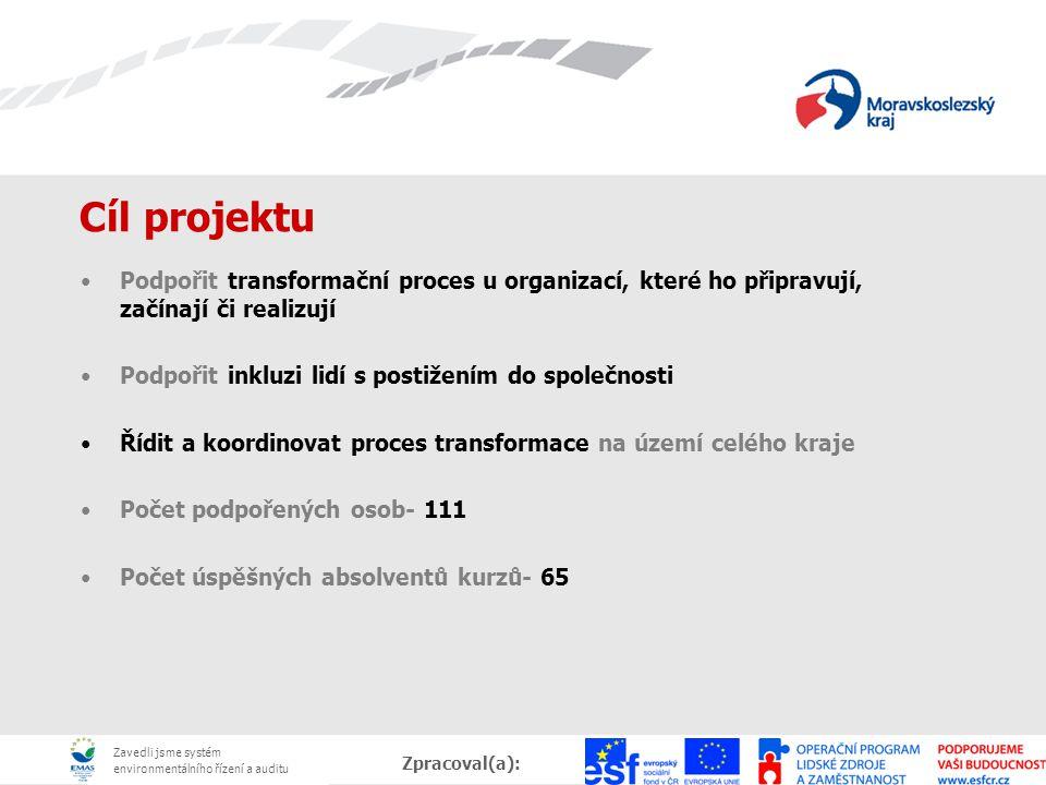 Zavedli jsme systém environmentálního řízení a auditu Zpracoval(a):, Datum: Cíl projektu Podpořit transformační proces u organizací, které ho připravu