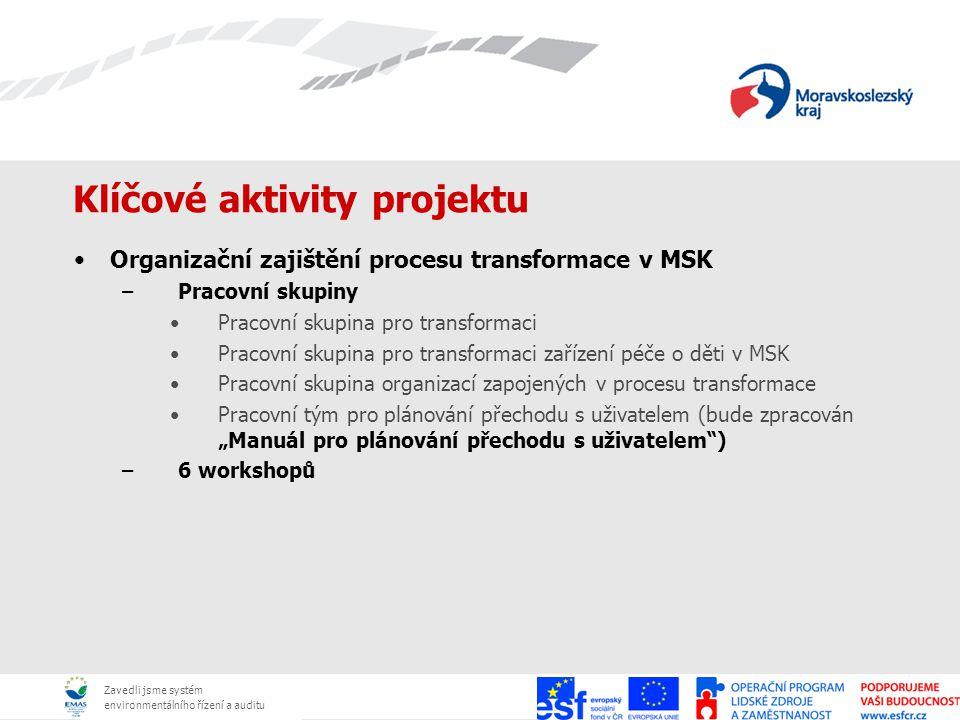 Zavedli jsme systém environmentálního řízení a auditu Klíčové aktivity projektu Organizační zajištění procesu transformace v MSK –Pracovní skupiny Pra