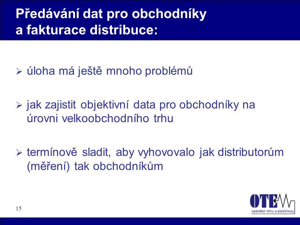 15 Předávání dat pro obchodníky a fakturace distribuce:  úloha má ještě mnoho problémů  jak zajistit objektivní data pro obchodníky na úrovni velkoobchodního trhu  termínově sladit, aby vyhovovalo jak distributorům (měření) tak obchodníkům