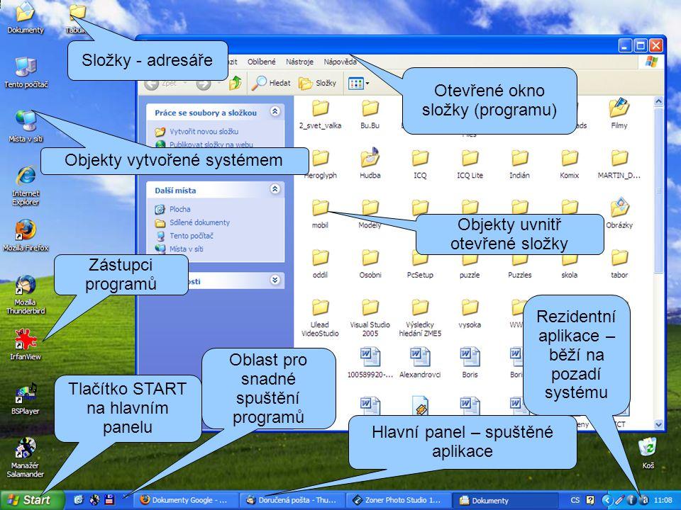 Tlačítko START na hlavním panelu Hlavní panel – spuštěné aplikace Oblast pro snadné spuštění programů Složky - adresáře Zástupci programů Objekty vytvořené systémem Otevřené okno složky (programu) Objekty uvnitř otevřené složky Rezidentní aplikace – běží na pozadí systému