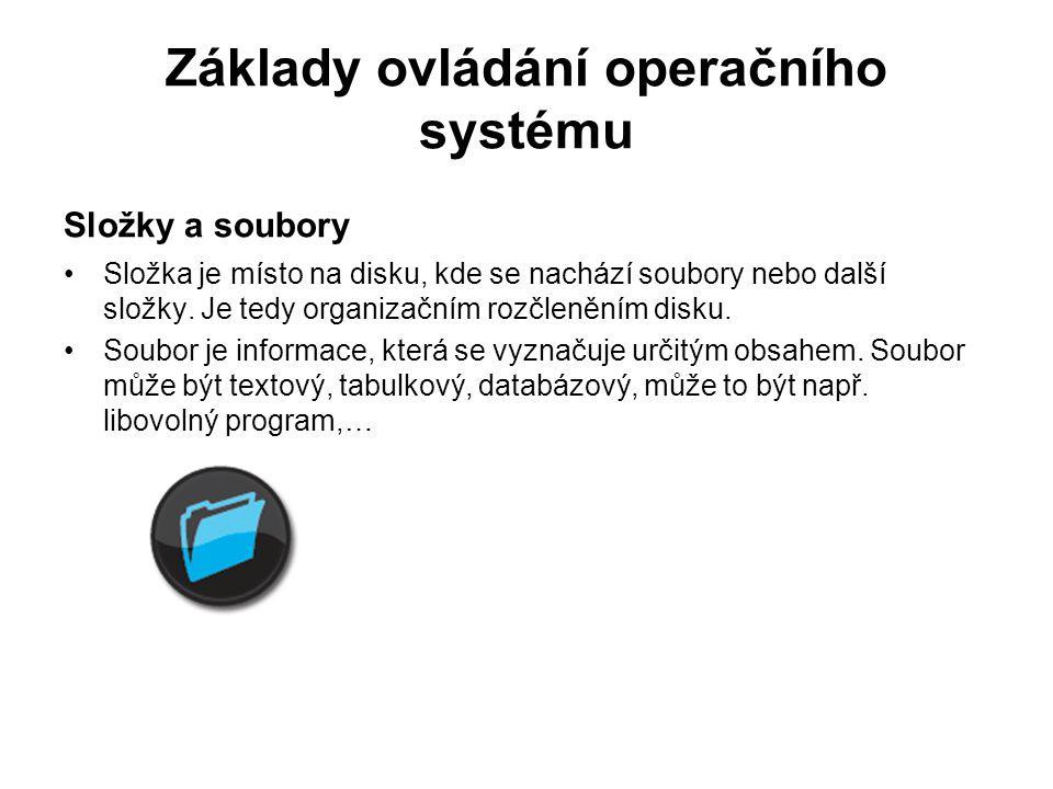 Základy ovládání operačního systému Vytvoření složky pravým tlačítkem myši, nový, složka, napíšeme daný text v průzkumníku, menu, nový, složka, napíšeme daný text