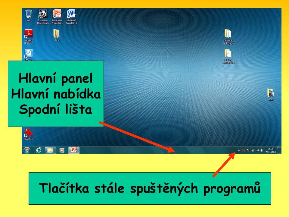 Panel Snadné spuštění může obsahovat řadu ikon programů Hlavní Panel signalizuje otevřené programy Panel Snadné spuštění