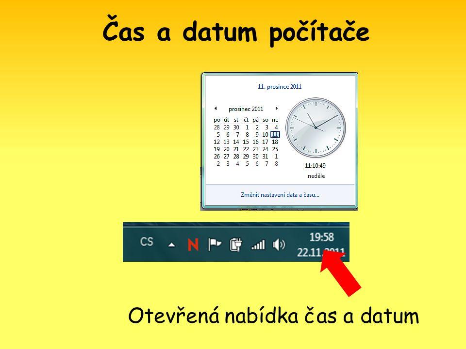 Otevřená nabídka čas a datum Čas a datum počítače
