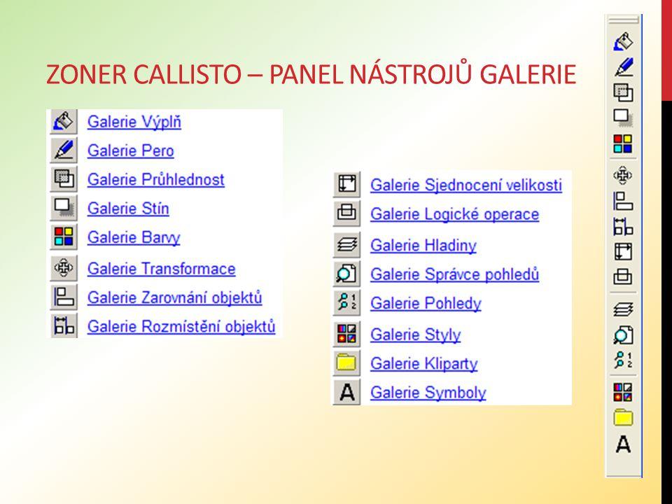 ZONER CALLISTO – PANEL NÁSTROJŮ GALERIE