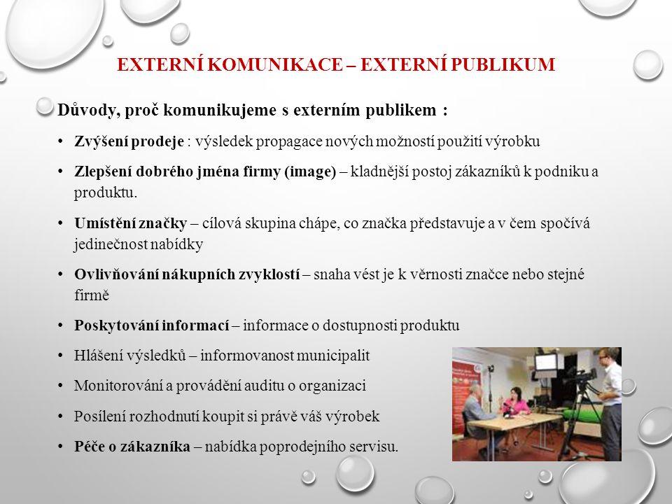 EXTERNÍ KOMUNIKACE – EXTERNÍ PUBLIKUM Důvody, proč komunikujeme s externím publikem : Zvýšení prodeje : výsledek propagace nových možností použití výr
