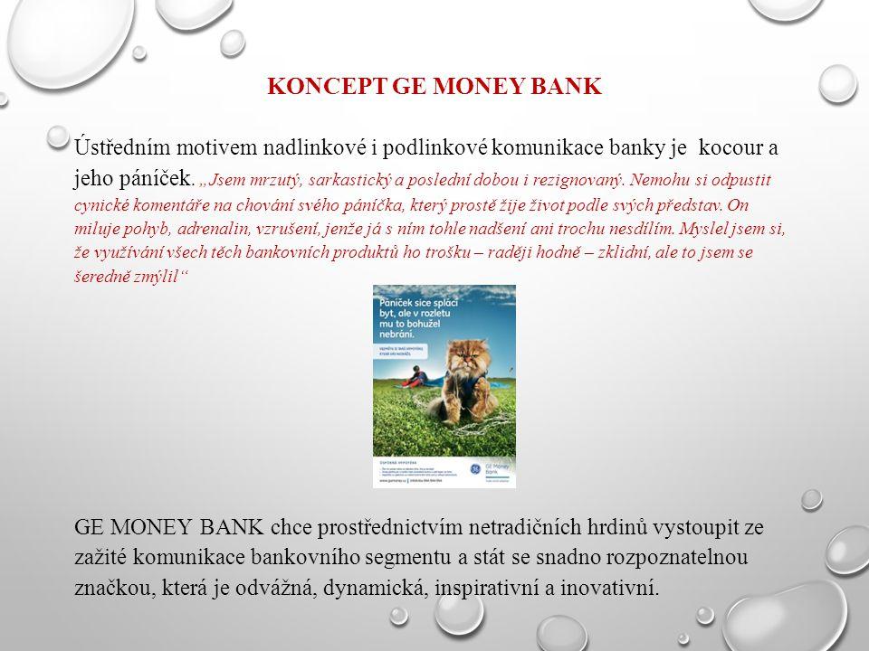 """KONCEPT GE MONEY BANK Ústředním motivem nadlinkové i podlinkové komunikace banky je kocour a jeho páníček. """"Jsem mrzutý, sarkastický a poslední dobou"""