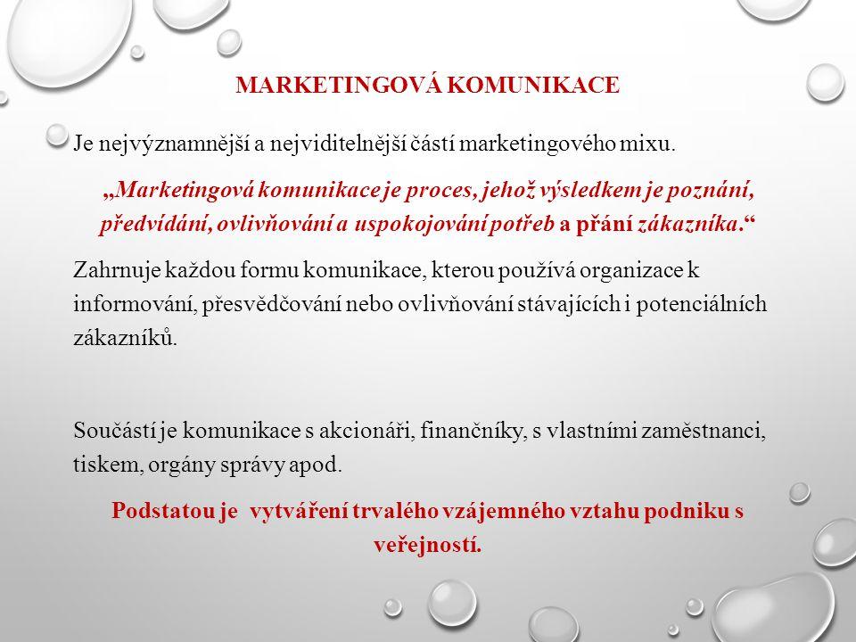 """MARKETINGOVÁ KOMUNIKACE Je nejvýznamnější a nejviditelnější částí marketingového mixu. """"Marketingová komunikace je proces, jehož výsledkem je poznání,"""