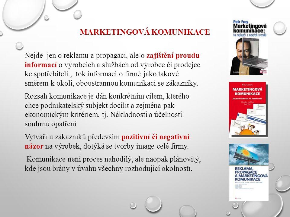 MARKETINGOVÁ KOMUNIKACE Nejde jen o reklamu a propagaci, ale o zajištění proudu informací o výrobcích a službách od výrobce či prodejce ke spotřebitel