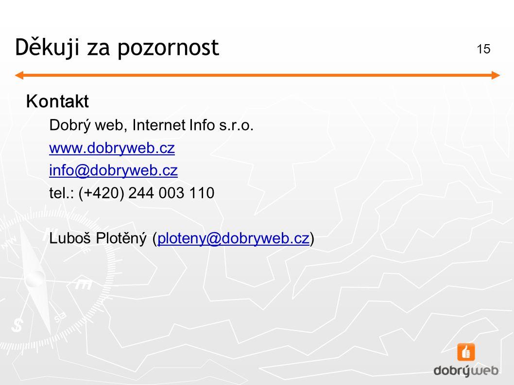 15 Děkuj i za pozornost Kontakt Dobrý web, Internet Info s.r.o.
