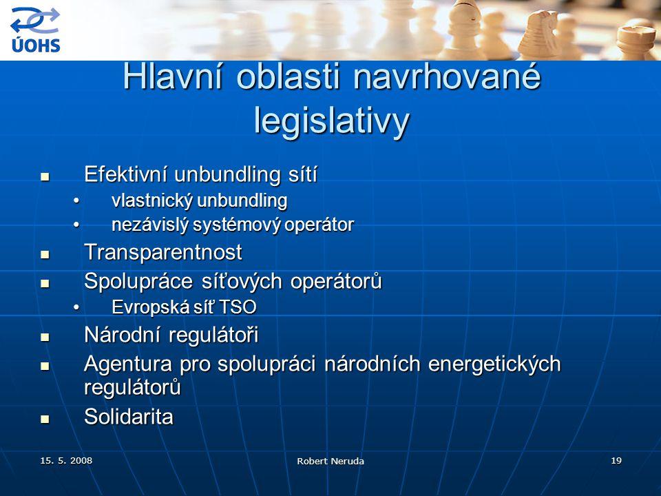 15. 5. 2008 Robert Neruda 19 Hlavní oblasti navrhované legislativy Efektivní unbundling sítí Efektivní unbundling sítí vlastnický unbundlingvlastnický