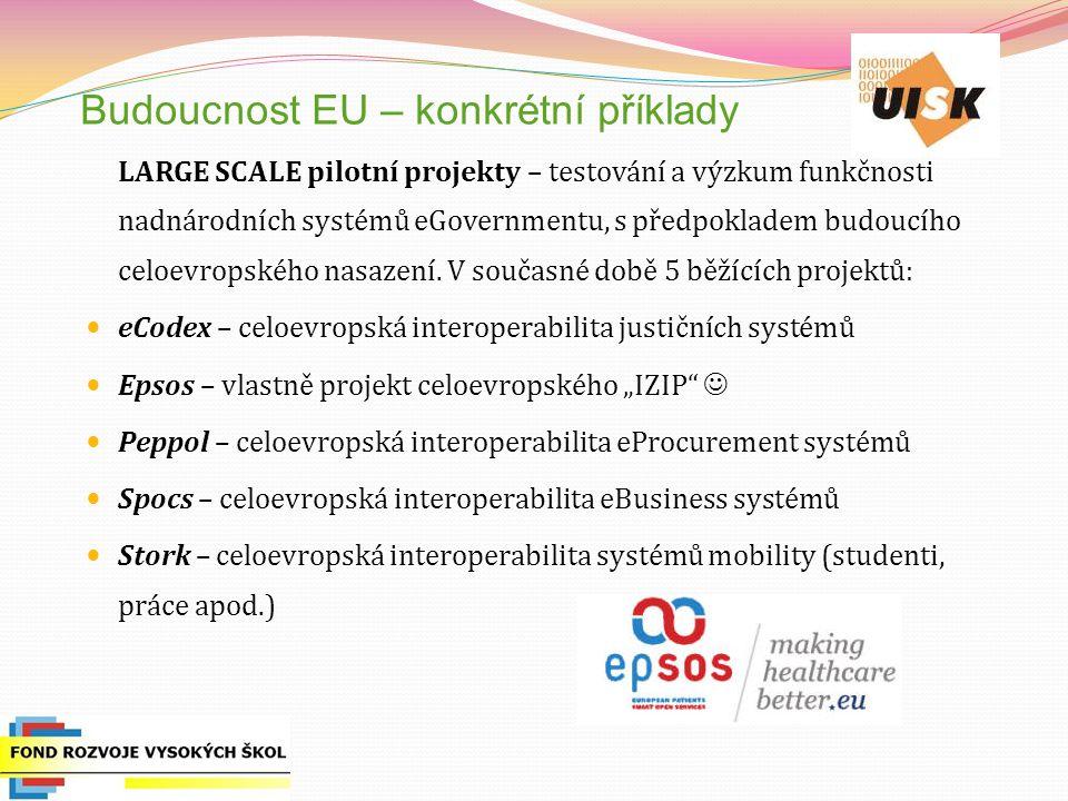 Budoucnost EU – konkrétní příklady LARGE SCALE pilotní projekty – testování a výzkum funkčnosti nadnárodních systémů eGovernmentu, s předpokladem budoucího celoevropského nasazení.