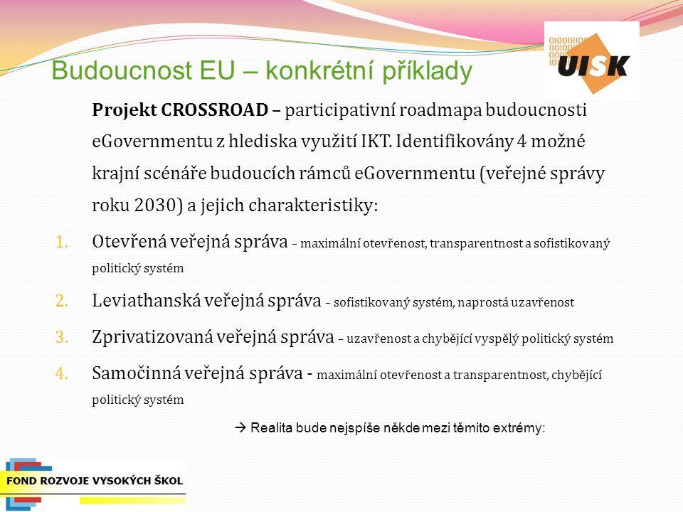 Budoucnost EU – konkrétní příklady Projekt CROSSROAD – participativní roadmapa budoucnosti eGovernmentu z hlediska využití IKT.