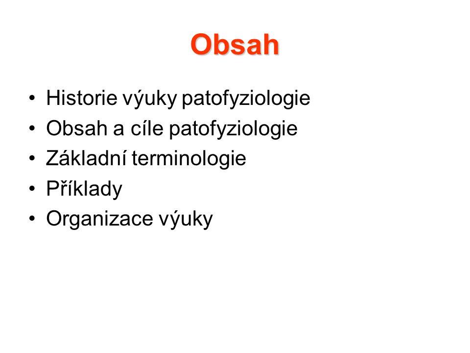Obsah Historie výuky patofyziologie Obsah a cíle patofyziologie Základní terminologie Příklady Organizace výuky
