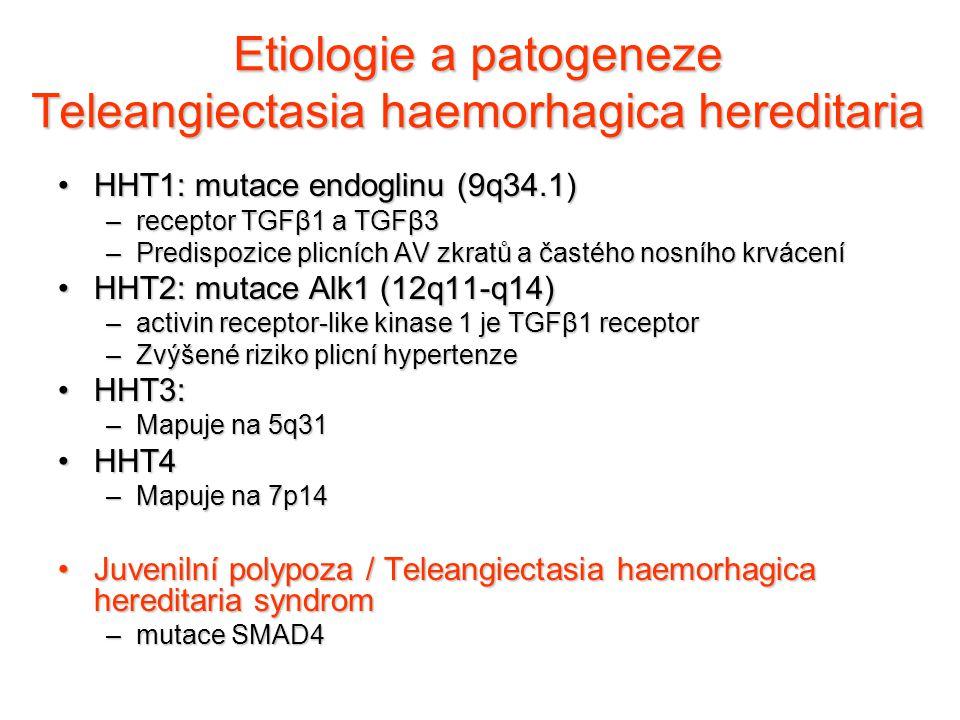 Etiologie a patogeneze Teleangiectasia haemorhagica hereditaria HHT1: mutace endoglinu (9q34.1)HHT1: mutace endoglinu (9q34.1) –receptor TGFβ1 a TGFβ3