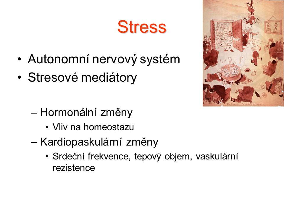 Stress Autonomní nervový systém Stresové mediátory –Hormonální změny Vliv na homeostazu –Kardiopaskulární změny Srdeční frekvence, tepový objem, vasku