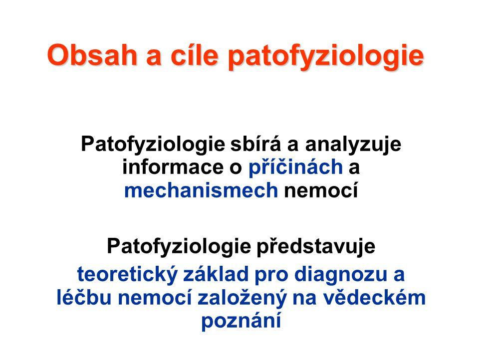 Obsah a cíle patofyziologie Patofyziologie sbírá a analyzuje informace o příčinách a mechanismech nemocí Patofyziologie představuje teoretický základ