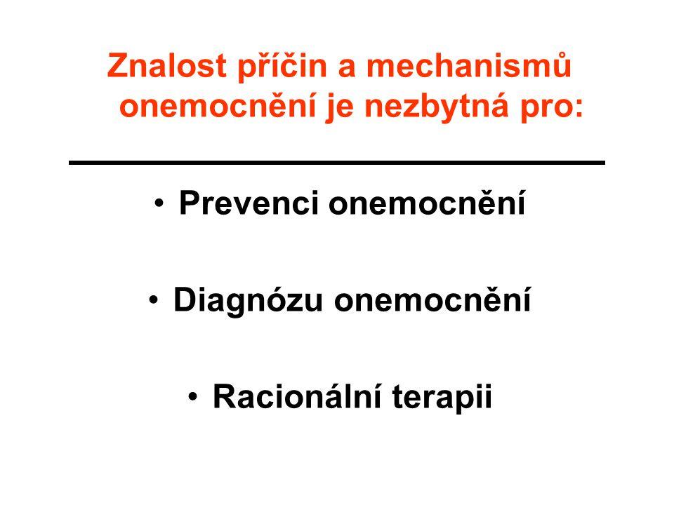 Znalost příčin a mechanismů onemocnění je nezbytná pro: Prevenci onemocnění Diagnózu onemocnění Racionální terapii