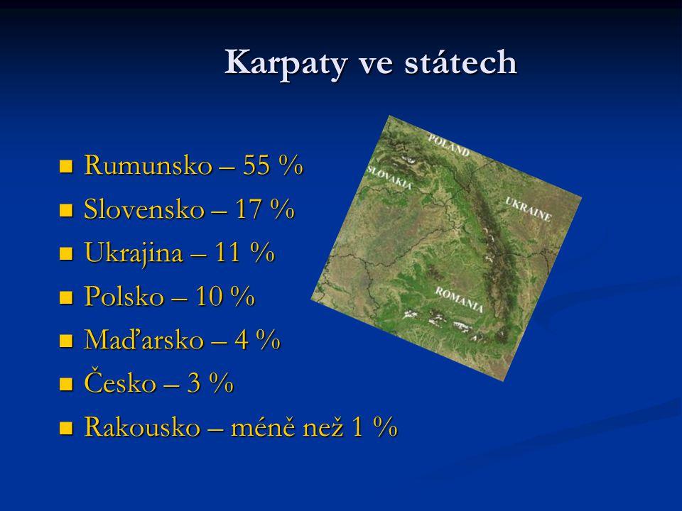 Karpaty ve státech Rumunsko – 55 % Rumunsko – 55 % Slovensko – 17 % Slovensko – 17 % Ukrajina – 11 % Ukrajina – 11 % Polsko – 10 % Polsko – 10 % Maďar