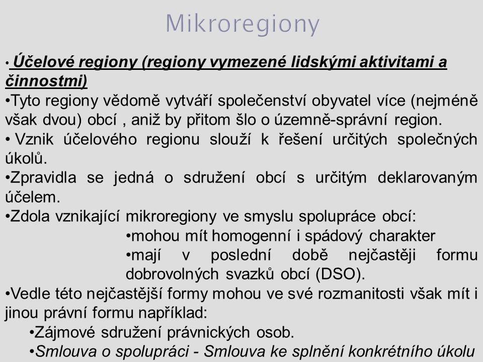 Účelové regiony (regiony vymezené lidskými aktivitami a činnostmi) Tyto regiony vědomě vytváří společenství obyvatel více (nejméně však dvou) obcí, aniž by přitom šlo o územně-správní region.