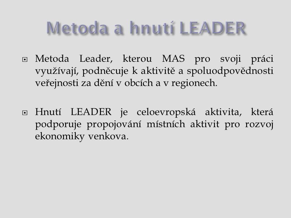  Metoda Leader, kterou MAS pro svoji práci využívají, podněcuje k aktivitě a spoluodpovědnosti veřejnosti za dění v obcích a v regionech.