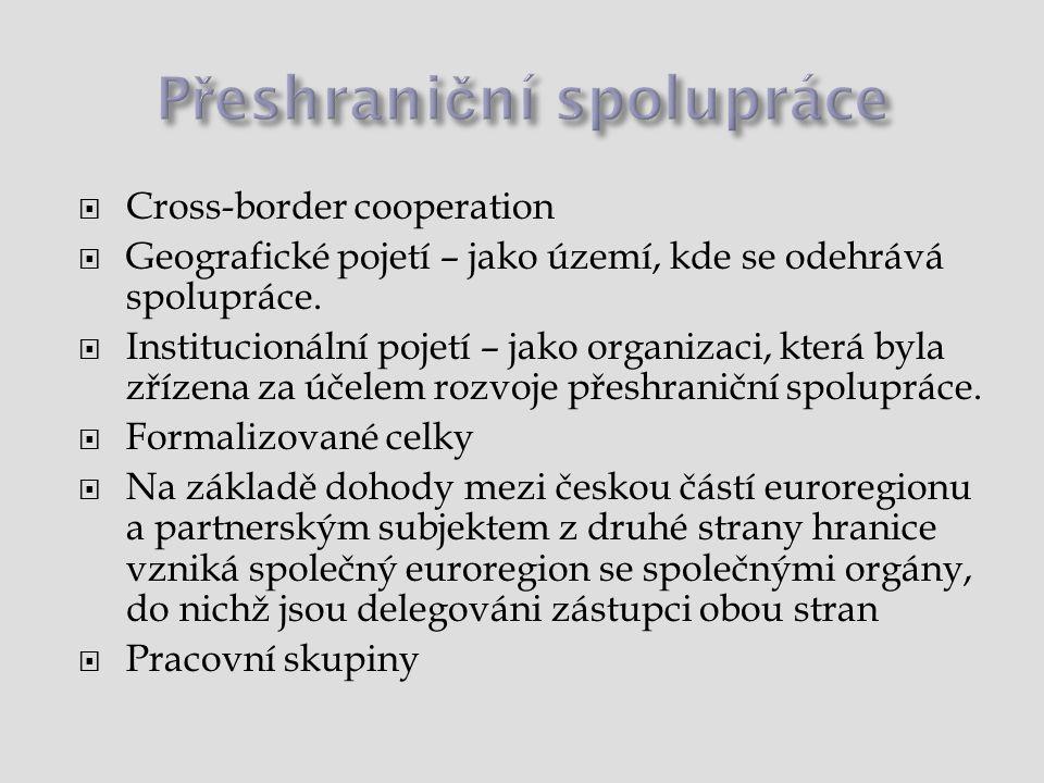 Cross-border cooperation  Geografické pojetí – jako území, kde se odehrává spolupráce.