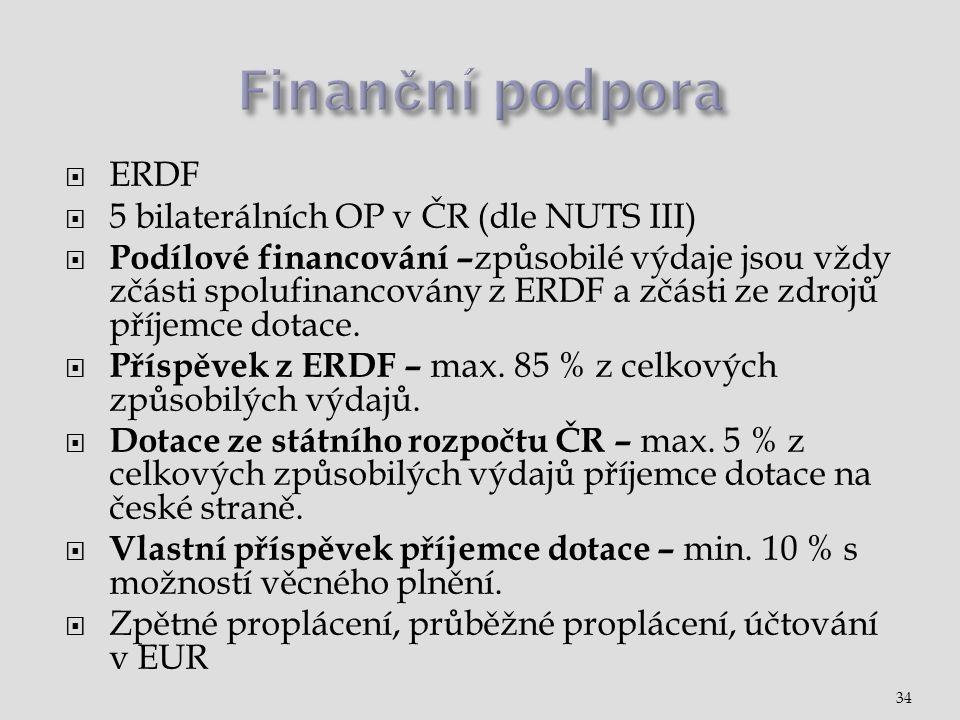  ERDF  5 bilaterálních OP v ČR (dle NUTS III)  Podílové financování – způsobilé výdaje jsou vždy zčásti spolufinancovány z ERDF a zčásti ze zdrojů příjemce dotace.