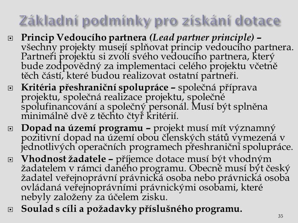  Princip Vedoucího partnera (Lead partner principle) – všechny projekty musejí splňovat princip vedoucího partnera.