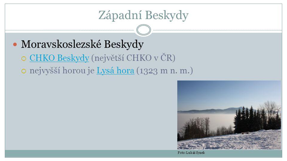Západní Beskydy Moravskoslezské Beskydy  CHKO Beskydy (největší CHKO v ČR) CHKO Beskydy  nejvyšší horou je Lysá hora (1323 m n. m.)Lysá hora Foto: L
