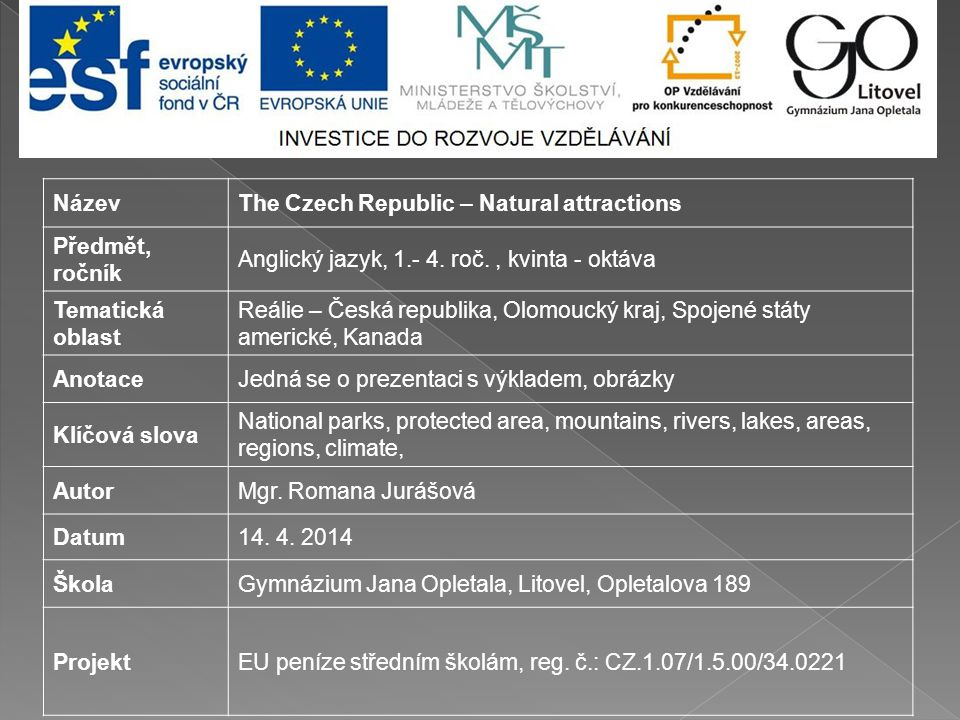 NázevThe Czech Republic – Natural attractions Předmět, ročník Anglický jazyk, 1.- 4.