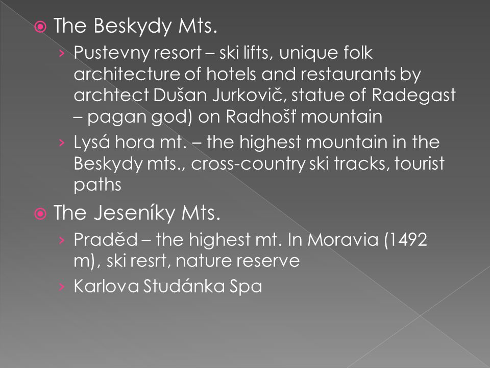  The Beskydy Mts. › Pustevny resort – ski lifts, unique folk architecture of hotels and restaurants by archtect Dušan Jurkovič, statue of Radegast –