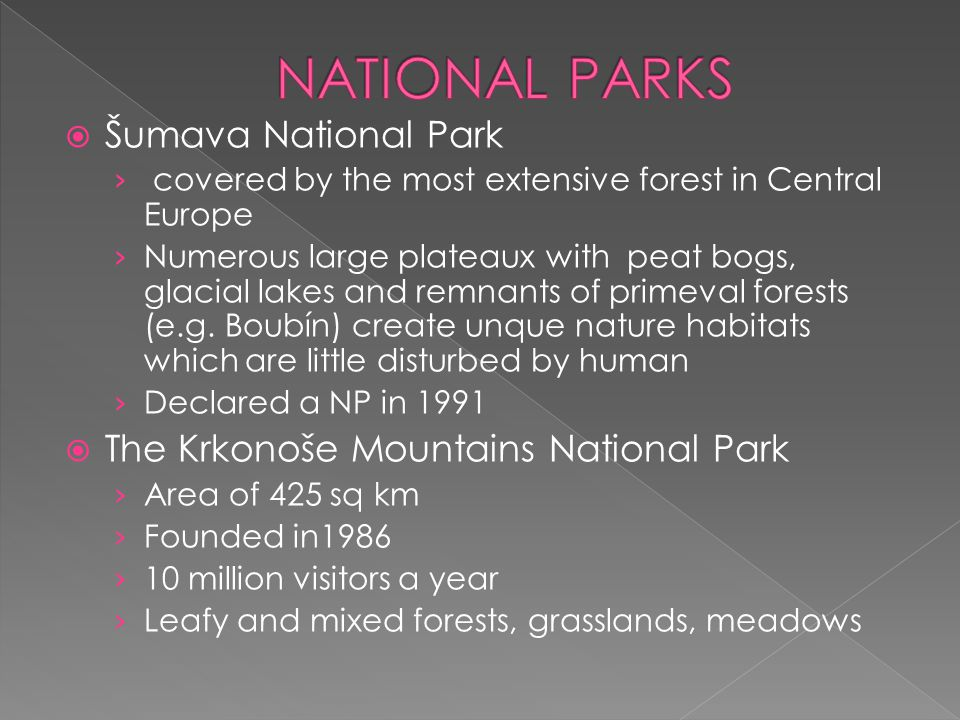  Šumava National Park › covered by the most extensive forest in Central Europe › Numerous large plateaux with peat bogs, glacial lakes and remnants o