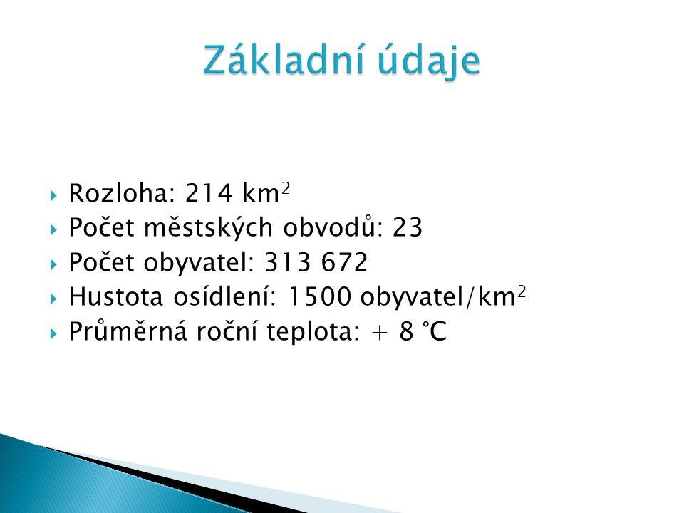  Rozloha: 214 km 2  Počet městských obvodů: 23  Počet obyvatel: 313 672  Hustota osídlení: 1500 obyvatel/km 2  Průměrná roční teplota: + 8 °C