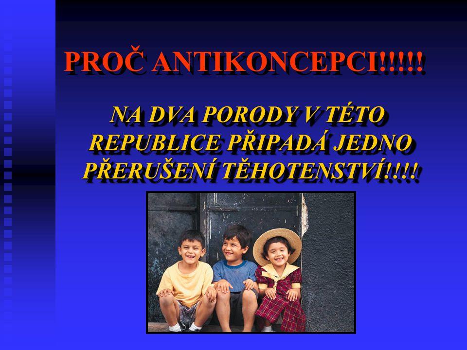 PROČ ANTIKONCEPCI!!!!.NA DVA PORODY V TÉTO REPUBLICE PŘIPADÁ JEDNO PŘERUŠENÍ TĚHOTENSTVÍ!!!.