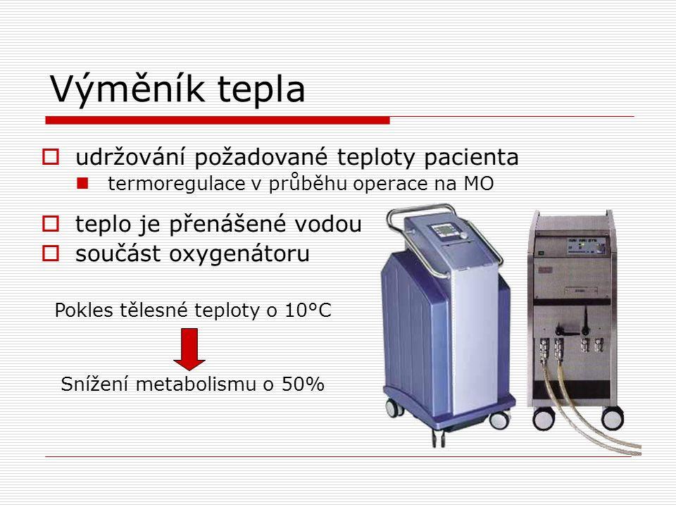 Výměník tepla  udržování požadované teploty pacienta termoregulace v průběhu operace na MO  teplo je přenášené vodou  součást oxygenátoru Pokles tělesné teploty o 10°C Snížení metabolismu o 50%