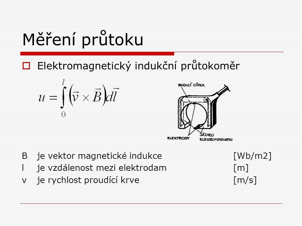 Měření průtoku  Elektromagnetický indukční průtokoměr Bje vektor magnetické indukce[Wb/m2] lje vzdálenost mezi elektrodam[m] vje rychlost proudící krve[m/s]