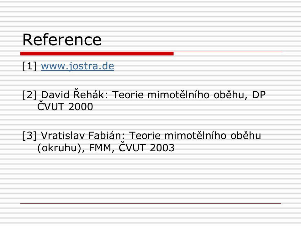 Reference [1] www.jostra.dewww.jostra.de [2] David Řehák: Teorie mimotělního oběhu, DP ČVUT 2000 [3] Vratislav Fabián: Teorie mimotělního oběhu (okruhu), FMM, ČVUT 2003