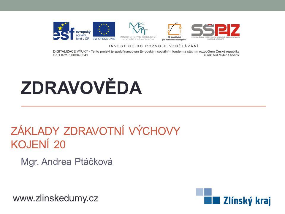 ZÁKLADY ZDRAVOTNÍ VÝCHOVY KOJENÍ 20 Mgr. Andrea Ptáčková ZDRAVOVĚDA www.zlinskedumy.cz