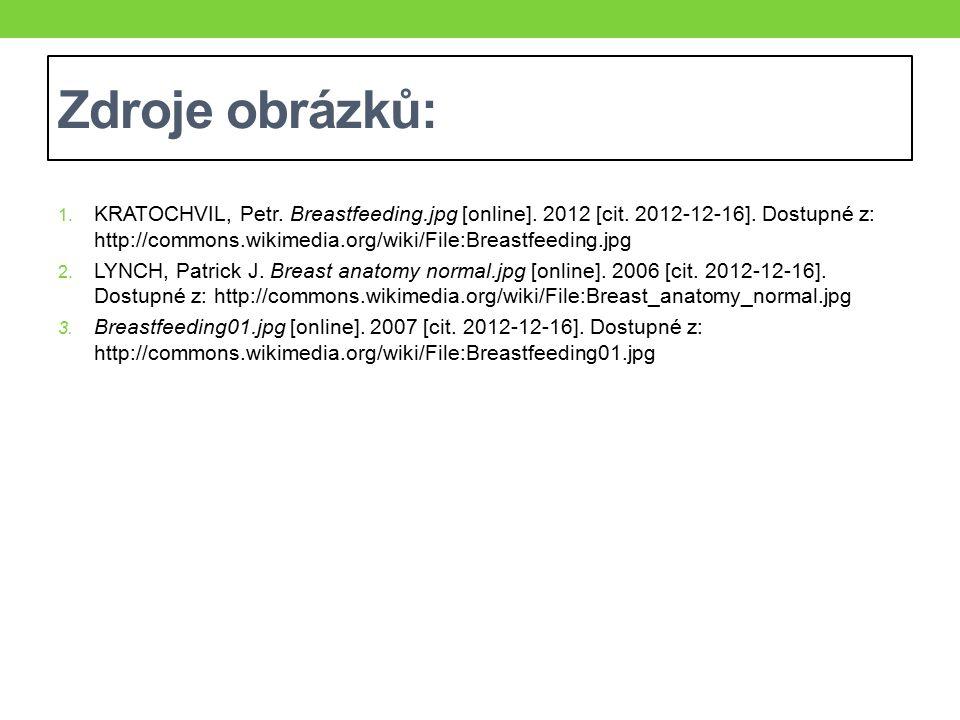 Zdroje obrázků: 1. KRATOCHVIL, Petr. Breastfeeding.jpg [online]. 2012 [cit. 2012-12-16]. Dostupné z: http://commons.wikimedia.org/wiki/File:Breastfeed