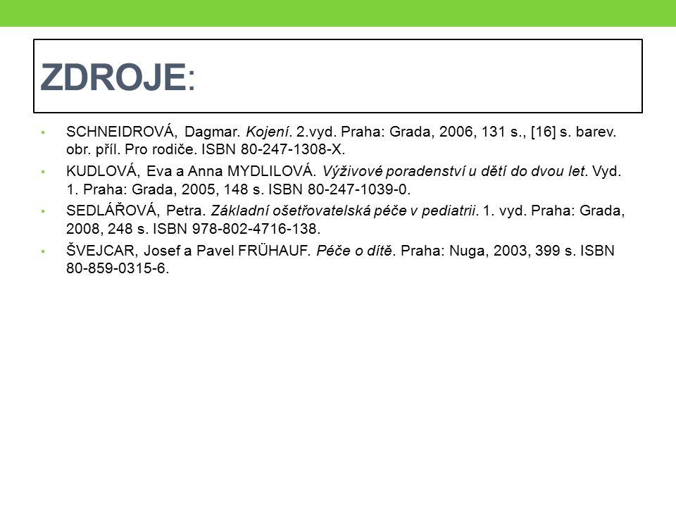ZDROJE: SCHNEIDROVÁ, Dagmar. Kojení. 2.vyd. Praha: Grada, 2006, 131 s., [16] s. barev. obr. příl. Pro rodiče. ISBN 80-247-1308-X. KUDLOVÁ, Eva a Anna
