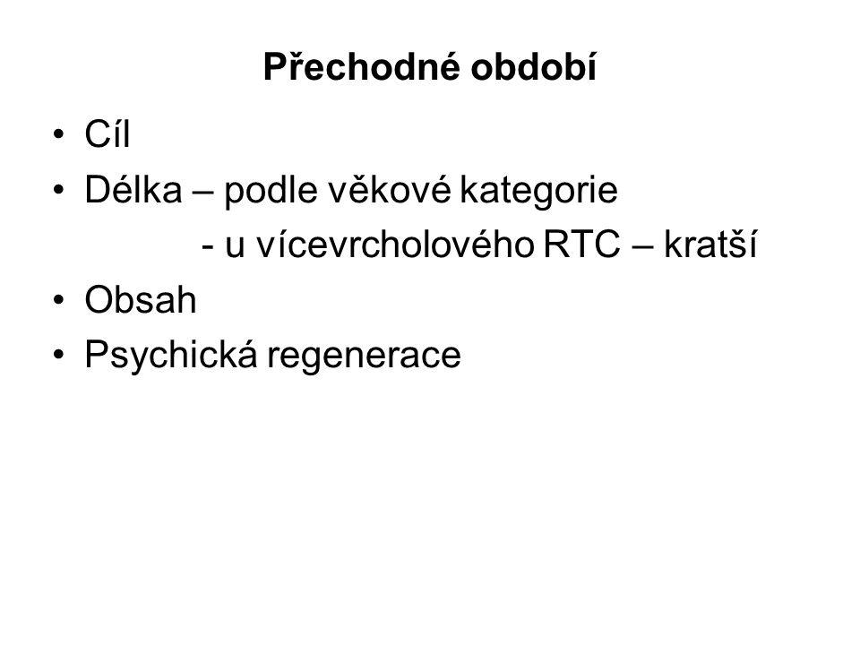 Přechodné období Cíl Délka – podle věkové kategorie - u vícevrcholového RTC – kratší Obsah Psychická regenerace