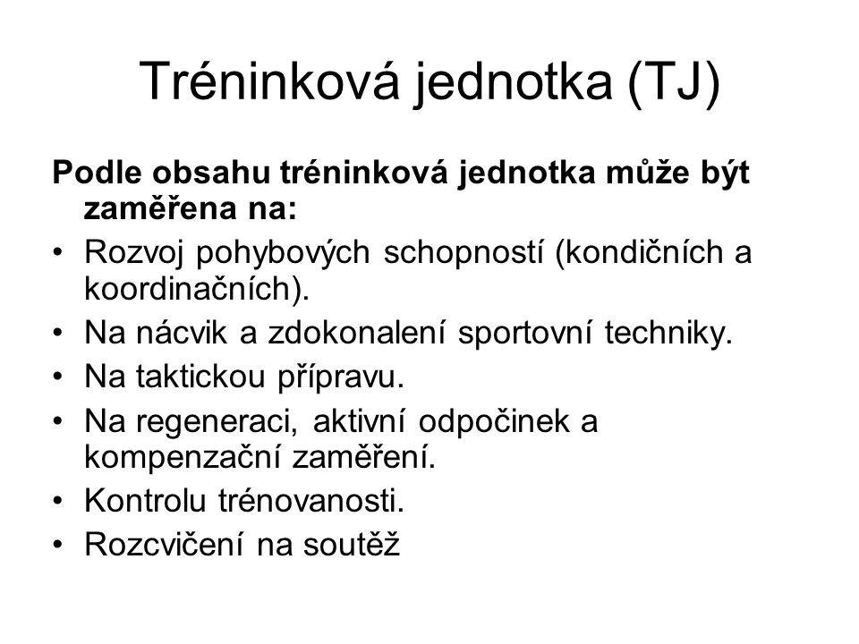 Tréninková jednotka (TJ) Podle obsahu tréninková jednotka může být zaměřena na: Rozvoj pohybových schopností (kondičních a koordinačních). Na nácvik a