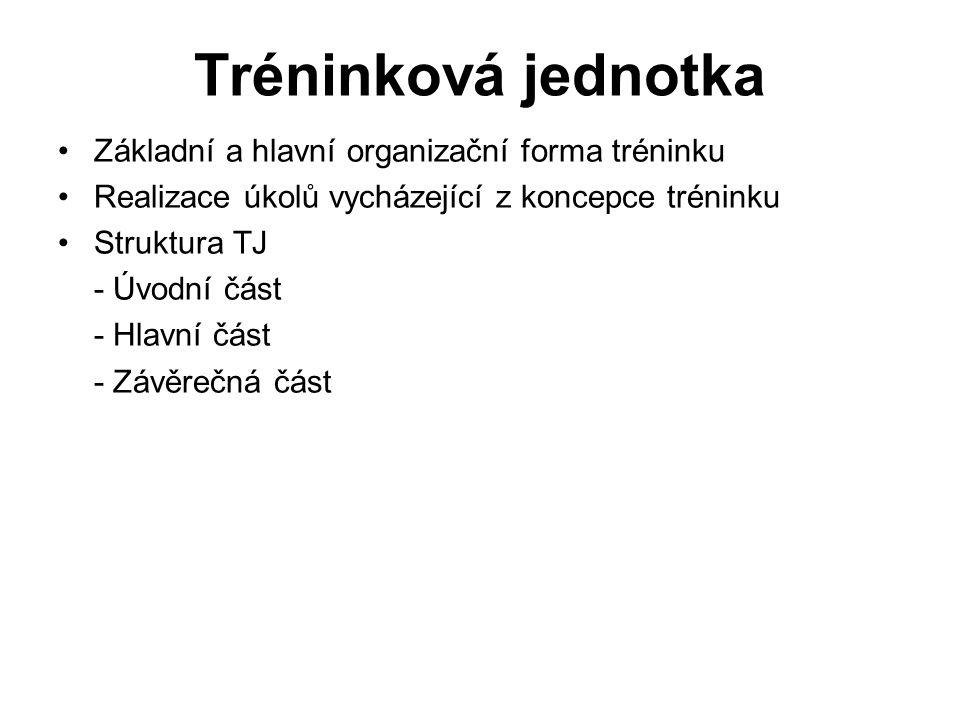 Tréninková jednotka Základní a hlavní organizační forma tréninku Realizace úkolů vycházející z koncepce tréninku Struktura TJ - Úvodní část - Hlavní č