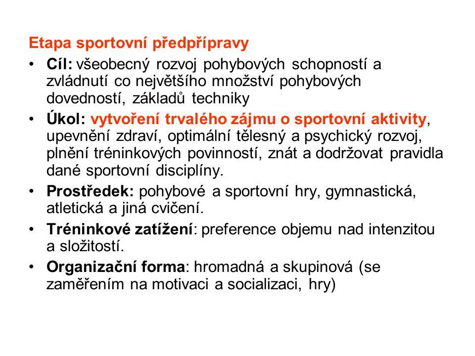 Etapa sportovní předpřípravy Cíl: všeobecný rozvoj pohybových schopností a zvládnutí co největšího množství pohybových dovedností, základů techniky Úk