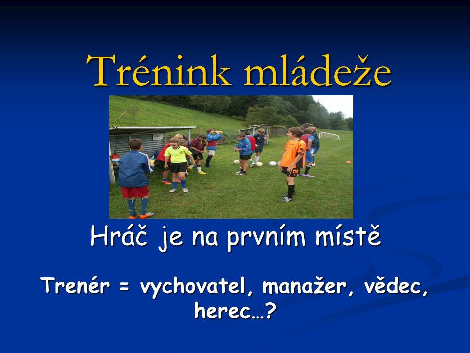 Trénink mládeže Hráč je na prvním místě Trenér = vychovatel, manažer, vědec, herec…?